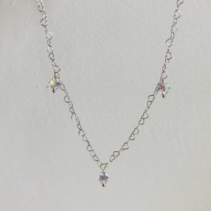 Crystal-drops necklace silver