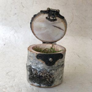 Birch tree jewelry box old brass