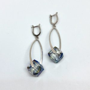 Crystal cubes silver earrings